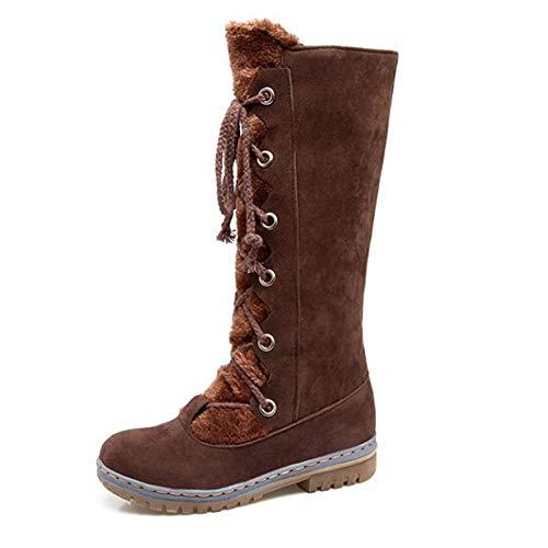 shoes 34-46 dames hoge laarzen, comfortabele platte bodem dames sneeuwschoenen, bovenmateriaal van mat suède warme katoenen skischoenen schoenen met dikke voering voor de herfstwinter