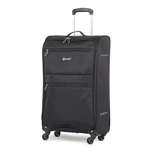 5 Cities Medium 26' Lightweight 4 Wheel Spinner Travel Trolley Check in Hold Luggage Suitcase (Black)