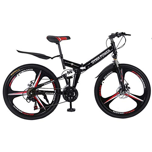 [Ship from USA] Adult Teens Mountain Bikes 20 Inch Mountain Trail Bike High Carbon Steel Folding Bicycles 6 Spoke 21 Speed Dual Disc Brakes Mountain Bicycle (Red)
