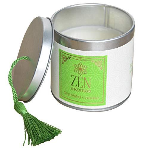 Hogar & Mas geurkaars cadeau 120 g, geurkaarsen Zen met decoratieve doos, 7,5 x 7,5 x 7 cm, groen