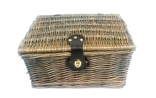 topfurnishing Traditional Wicker Willow Xmas Christmas Picnic Hamper Lidded Gift Empty Storage Box Basket[Oak,Small 30 x 23 x 13 cm]