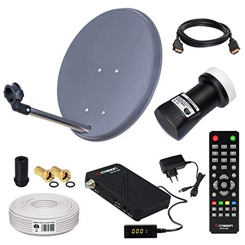 HB-DIGITAL Sat-Komplett-Set: Mini Sat Anlage 40cm Schüssel Anthrazit + UHD Single LNB 0,1 dB + 10m Kabel + HD SAT Receiver ( für HDTV geeignet )