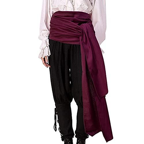 Gamusi Pirate Sash Medieval Renaissance Large Sash Halloween Costume Waist Sash Jack Belt Captain Props (Wine-red)