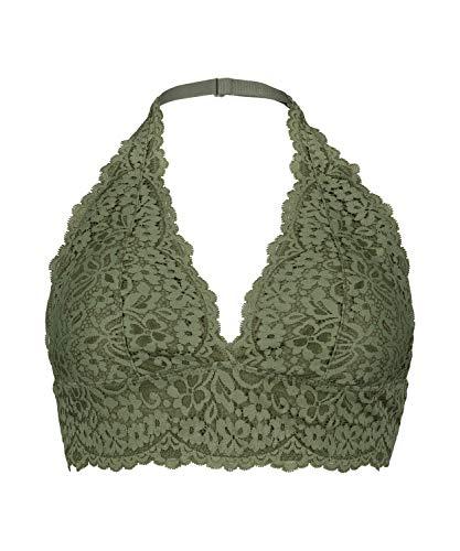 HUNKEMÖLLER Damen Vorgeformter und bügelloser Neckholder-Bralette Rose mit Spitze grün XL