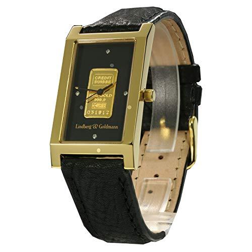 L&G Armbanduhr - Goldbar Black - mit massivem Goldbarren der Credit Suisse (999,9/1000) und 4 echten Diamanten - Herrenuhr/Herrenarmbanduhr/Armbanduhr für den Herren