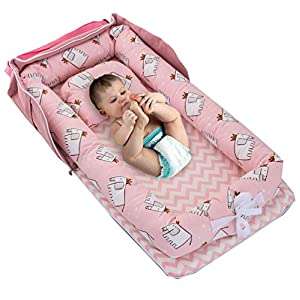 Baby Bassinet for Bed -Elephant-Pink Baby Lounger – Breathable & Hypoallergenic Co-Sleeping Baby Bed Baby Nest – 100% Cotton Portable Crib for Bedroom/Travel(0-24 Months)