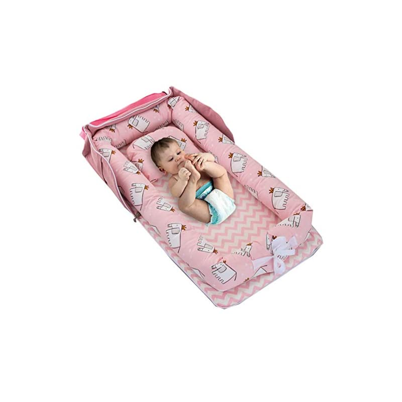 crib bedding and baby bedding baby bassinet for bed -elephant-pink baby lounger - breathable & hypoallergenic co-sleeping baby bed baby nest - 100% cotton portable crib for bedroom/travel(0-24 months)