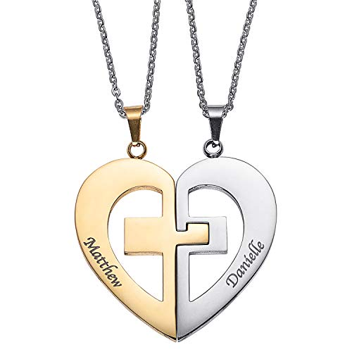 Personalized Couple Name Necklace Matching Set Custom Engraved His and Hers Broken 2 Half Piece Heart Pendant Sterling Silver Two-Tone Puzzle Best Friend Gifts for 2 (Two Tone Cross Necklaces)