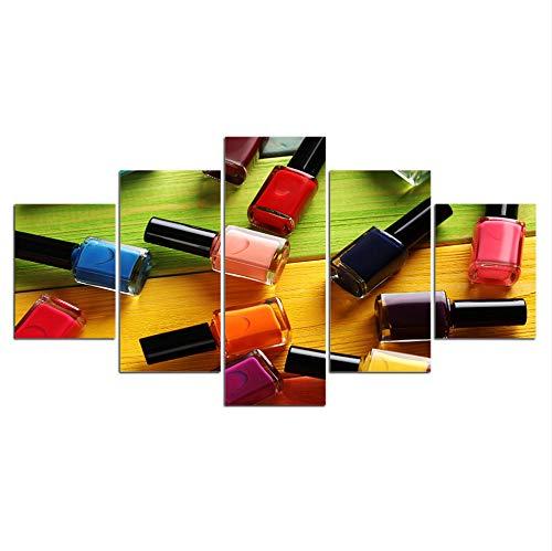 hlonl (Kein Rahmen) Moderne Hd 5 Panel Leinwand Malerei Abstrakte Nagellack Wohnkultur Wandkunst Für Wohnzimmer Drucken Und Poster Artwork