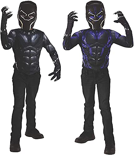 Imagine by Rubie's Child's Marvel Black Panther 2-in-1 Reversible Muscle Chest Shirt Box Set, Medium
