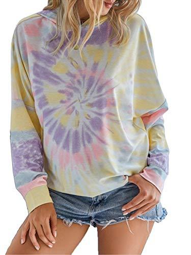 Famulily Eleganter Hoodie Damen Langarm Batik Mode Sweatshirt mit Tunnelzug XL B: Lila