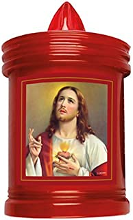 Sacred Heart of Jesus Grave Candle - Battery Grave Light