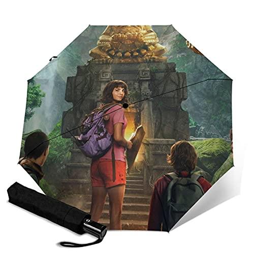 Dora the Explorer Paraguas automático de tres pliegues para viajes, plegable, apertura automática, portátil, resistente a los rayos UV, resistente al agua, duradero