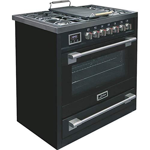 Kaiser HGE 93505 S elektrischer Gasherd, 90cm, Elektroherd, 115l, Gaskochplatte, 4,5kW, 8 Funktionen, Selbstreinigung, Erdgas und Propan möglich, Luxusqualität