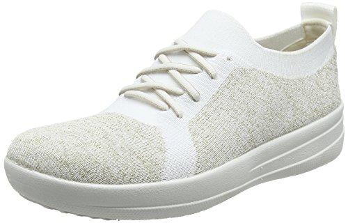 Fitflop Damen F-Sporty Uberknit Low-Top Sneakers, Mehrfarbig (Metallic Gold/urban White 566), 37 EU