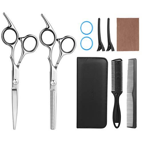 Haarschere Set 6.7 zoll, FRCOLOR Professionelle Friseurschere Effilierschere Schnitt Edelstahl Friseur Scheren für Kinder Frauen und Männer (ohne Friseurumhang 2)