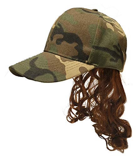 Mullet Camo Hat with Attached Brown Hair Wig for an USA All American Camouflage Country Costume Quality Wig