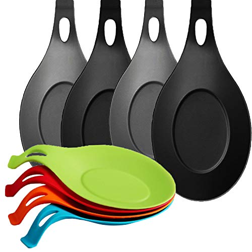 NEPAK 8 Pack Kitchen Cuchara de Silicona descansa para la Estufa, se Adapta a Utensilios Grandes, Soporte de espátula (Colorido)