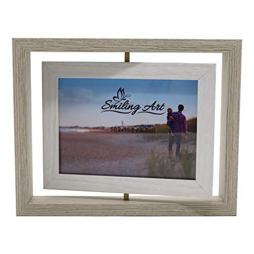 Smiling Art kreativer Bilderrahmen für 2 Fotos aus Holz mit Glas, Doppelrahmen (Drehbar Weiß, 10x15 cm)
