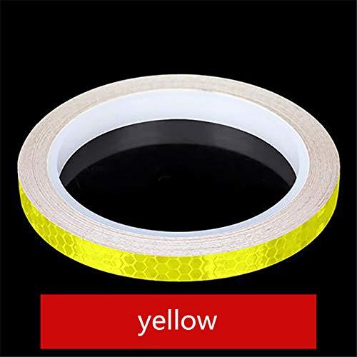 1PC 8 Meter Styling Reflective Stripe Tape Motorcycle Bike Body Rim Wheel Stripe Tape Stickers Decorative Blue/Red/Yellow,yellow