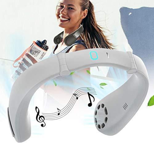 CeFoney Ventilador de cuello portátil, manos libres, ventilador deportivo, USB, ventilador eléctrico para camping en la oficina de viaje