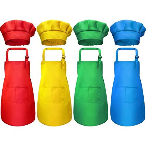 boogift 4 Set Delantal Niños, Delantal para Niños y Conjunto de Gorro, Cocinero de Niños Algodón Ajustables de Cocina de Niños con 2 Bolsillos para Vestido de Cocina Repostería(Traje 2)