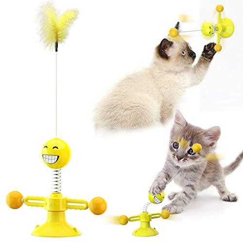 Juguete Giratorio para Gatos Juguete Interactivo de Molino de Viento Juguetes Gatos con Ventosa Juguetes con Plumas para Gatos Juguete Placa Giratoria para Gato con Plumas, Bola, Ventosa (Amarillo)