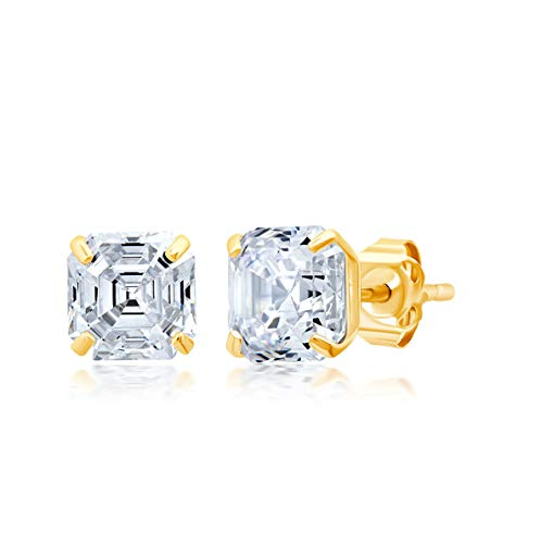 14k Solid Gold Stud Earrings with Genuine Swarovski Zirconia | Asscher, Emerald, or Oval Cut | With Gift Box