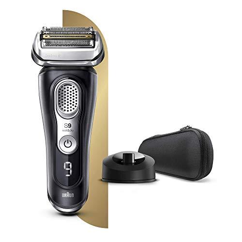 Braun Series 9s Premium Rasierer Herren mit 4+1 Scherkopf, Elektrorasierer & Präzisionstrimmer, Ladestation, Li-Ionen-Akku für 60 Min. Laufzeit, AutoSense Technologie, SyncroSonicTM, Wet&Dry, schwarz