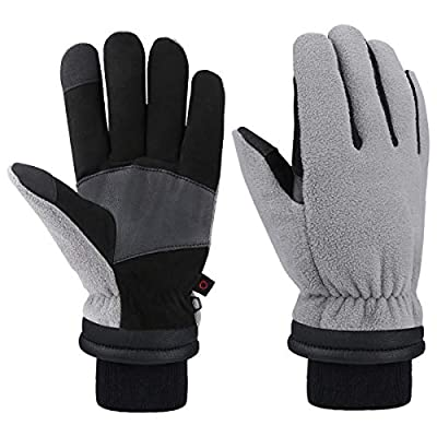 CCBETTER Winter Gloves for Men Warm Work Touchscreen Glove -30? Cold Weather Deerskin Cowhide Thermal Fleece 2019 New