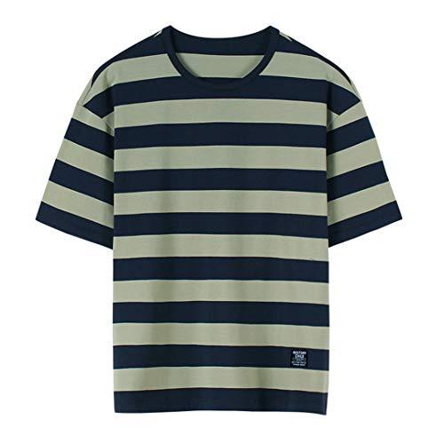 Marico Atmungsaktives Gestreiftes T-Shirt Paar T-Shirt Sommer Kurzes Hemd Unisex T-Shirts mit Rundhalsausschnitt Lässige Baumwolloberteile Bequeme lose Kurzarm,B,S