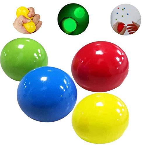LEOP 4 Pcs Balles Lumineuses Anti-Stress Sticky Ball, Stick to The Wall Fun Toy, Sticky Stress Balls to Through on Plafond, Stress Relief Toys for Adult Kids, Soulagement du TDAH, Antisme, Anxiété