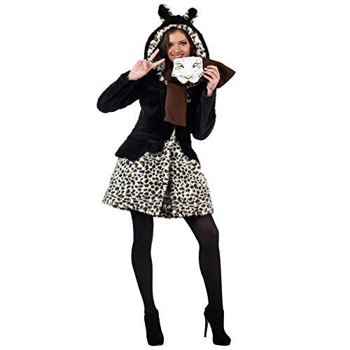 Leoparden Wildkatze Kostüm Damen 2-teilig Mantel und Schal für Karneval und Mottoparty - L by Limit Sport