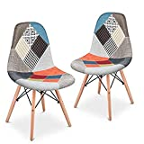 Mc Haus Pack 2 sillas, Madera, Naranja, 49x46x84cm