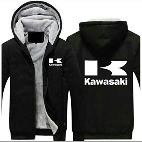 HOODIE Männer Kapuzenpullover Sweater-Jacke - Kawasaki Print Zip Pullover Beiläufiges Warm Sweatshirt Stitching Langarm Beiläufige Hoody Tops - Teens Geschenk Black-XL