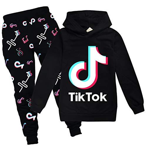 Conjunto de sudadera con capucha y pantalones, con logotipo Tik Tok, unisex, de estilo deportivo, de moda, para niños y niñas, (color negro, para 11 - 12 años)