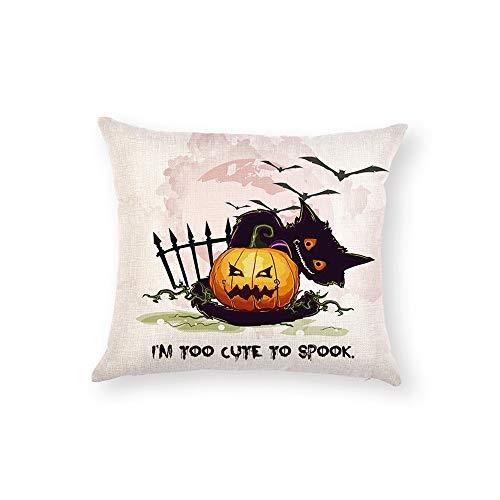 Z&HA Halloween Pillow Covers Witch Pumpkin and Crow Cotton Linen Throw Pillows Decorative Square Cushion Cover 18x18 Inches Pillowcase,J