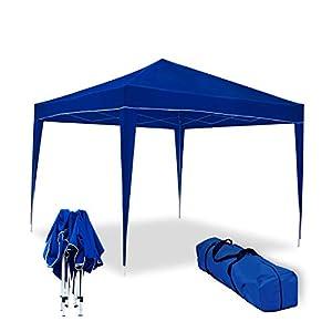 wasabi Carpa Plegable 3x3m Classic Azul de jardín, terraza, Camping, Playa