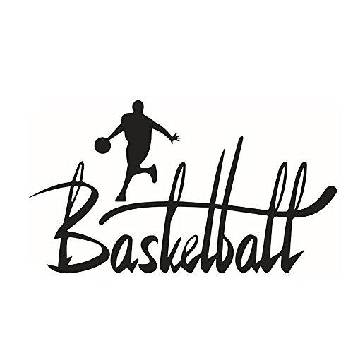 CAOLATOR Wandtattoo *Basketball* Englische Sprüche Basketball-Players Wandsticker PVC Abnehmbar Wandaufkleber Mode Klebeband Aufkleber Deko Für die Schlafzimmer Kinderzimmer Schwarz (57 * 31cm)