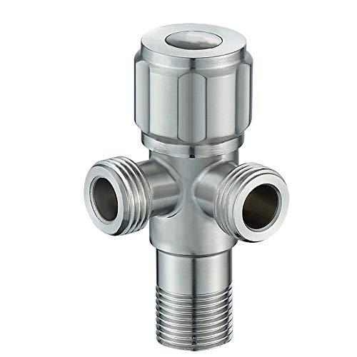 Edelstahl Doppel Eckventil für Waschbecken Regulierventil 1/2 Zoll - Wasser-Anschluss Eckventile