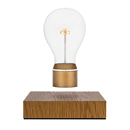 FLYTE Royal LED-Dekoleuchte, schwebend per Magnetismus, Induktionsladung, Glühbirne, Lampe, Gold mit Eichenholz