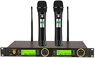 PRORECK UK-2000 UHF 2 Channel Wireless Microphone System with Two Handheld Microphone with FCC Certification, Perfect for ...