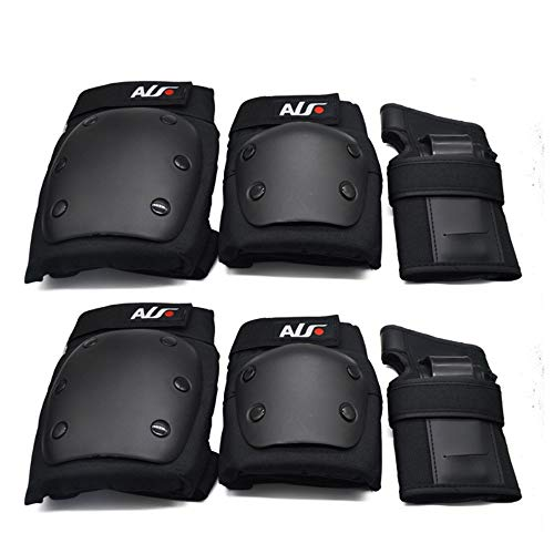 WXH 6-teilige Knie-/Ellenbogen-Handgelenk eignet Sich für Mountainbike-Radfahren und Roller-Roller für Sport Multifunktionsgerät,Black