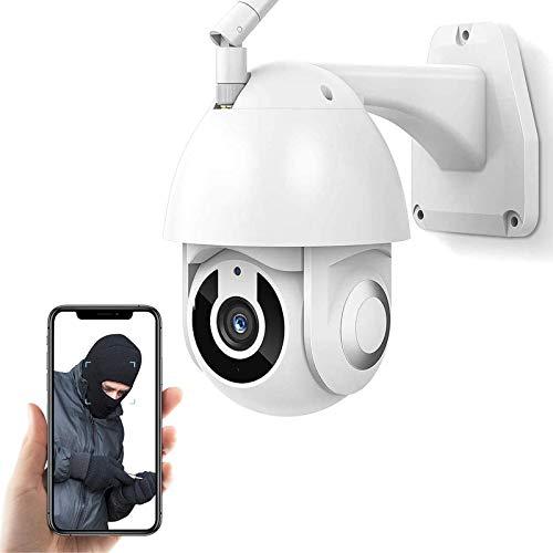 Cámara de vigilancia para exteriores Cámara de seguridad WiFi,Cámara IP PTZ CCTV 1080P HD,IP66 impermeable,visión nocturna,voz de 2 canales,seguimiento de movimiento,alarma (Cámara+tarjeta TF de 32G)