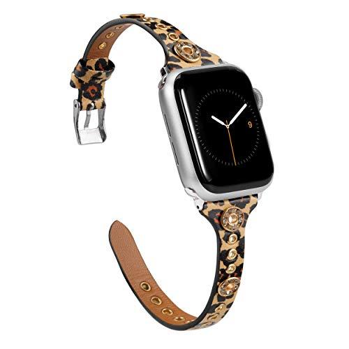 Glebo Correa de reloj de piel compatible con Apple Watch 38 mm 40 mm para mujer y niña, fina correa de piel Apple Watch SE con remaches Bling de repuesto para Iwatch Series 6 5 4 3 2 1, Leopard