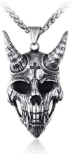 CCXXYANG Co.,ltd Necklace Stainless Steel Vintage Goat Skull Pendant Necklace Sheep Head Skull Cross Shofar Necklaces with Chain Gift for Him 60Cm