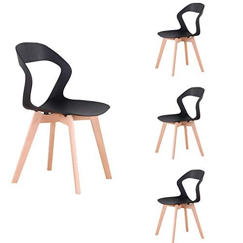 ZMALL - Sillas de comedor nórdicas creativas para café, respaldo artístico abierto, patas de madera maciza, estructura estable, apto para restaurantes, cafeterías, bares, juego de 4 (negro)