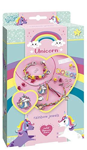 Totum 71063 Unicorn Juwelen - Bastle deine eigenen Unicorn Armbänder mit Einhornanhänger aus Metall, Sternanhänger, Perlen und Sticker