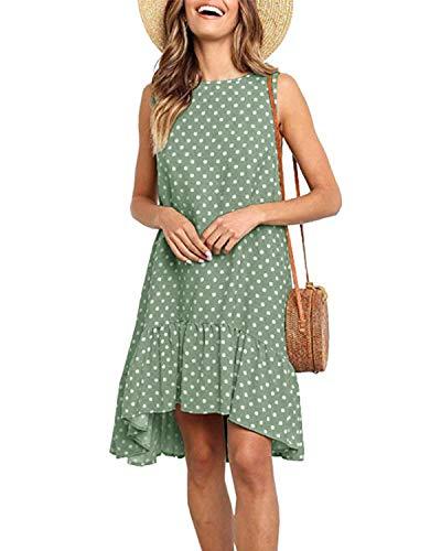 CNFIO Donna Vestiti Tunica Estivo Maniche Senza Abiti Linea T Shirt Mini Dress Pieghe Abito Corta Casual Verde Chiaro XL