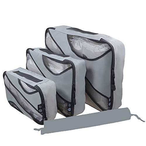 Desconocido JIER Packing Cubes de Compresión, Organizadores de Equipaje, 4 Set Organizador para Maletas, Bolsas para Ropa Zapato Sucia de Viaje, Accesorios para Viajes (Gris)
